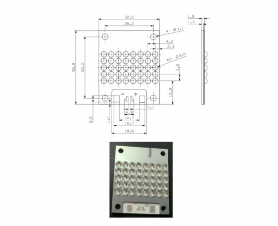 High Power UV LED Module 31×19mm for UV Curing